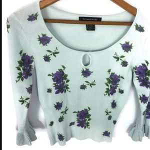 52 weekends keyhole floral sweater small